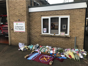 Tributes paid at Cottenham fire station for on-call firefighter, Danny Granger