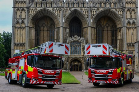 the turntable ladders parked outside cathedral